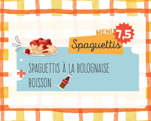 kids menu spaguettis